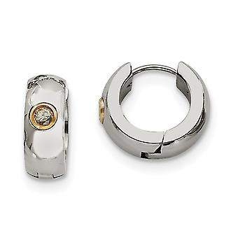 Stainless Steel Polished With CZ Cubic Zirconia Simulated Diamond and Gold Flashed Yellow IP plated Hinged Hoop Earrings