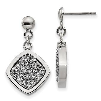 Stainless Steel Polished With Silver Druzy Post Long Drop Dangle Earrings Jewelry Gifts for Women