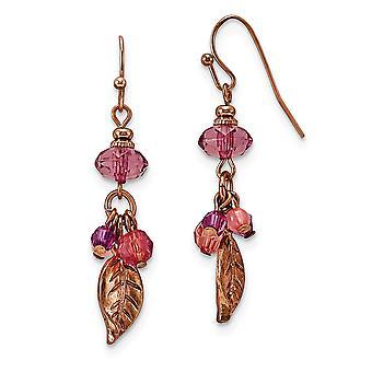 Shepherd crochet Rose ton Rose et Violet Acrylique Perles Longues Drop Dangle Boucles d'oreilles Mesures 47x12mm Large Jewelry Gifts for