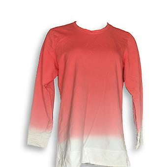 Denim & Co. Frauen's Top Französisch Terry Dip Dye Langarm rosa A346977
