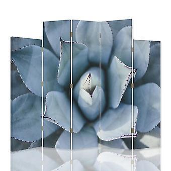 Diviseur de pièce décoratif, 5 panneaux, double-sided, toile rotative de 360 , agave 1