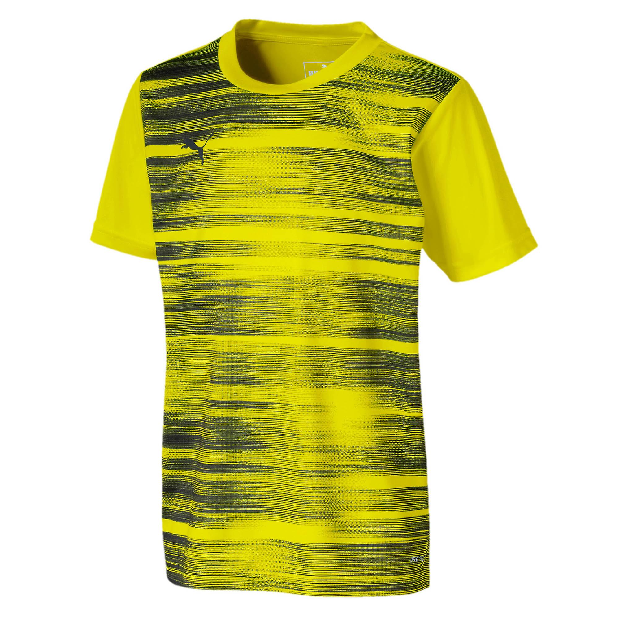 Puma FtblNXT Graphic Kids Fitness Training Sports T-Shirt Shirt Tee Yellow/Grey