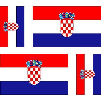 4 X pegatina pegatina coche motocicleta Valise Pc Bandera portátil Croacia Croacia