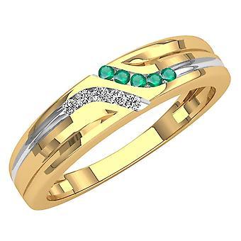 Dazzlingrock Collection 14K Round Cut Emerald & White Diamond Mens Channel Set Fashion Wedding Band, Yellow Gold
