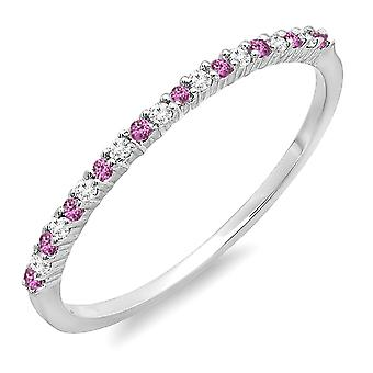Dazzlingrock Collection 10K Round Pink Sapphire & White Diamond Ladies Wedding Stackable Ring, White Gold