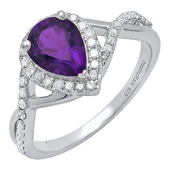 Dazzlingrock Collection Sterling Silver 8X6 MM Pear Amethyst & Round White Diamond Ladies Engagement Ring