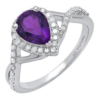 Dazzlingrock kollektion sterling sølv 8X6 MM pære Amethyst & runde hvide diamant damer Forlovelses ring