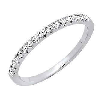 Dazzlingrock Collection 0.25 Carat (ctw) 10K Round White Diamond Ladies Stackable Wedding Band 1/4 CT, White Gold