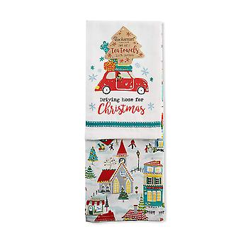 Cooksmart Pack of 2 Tea Towels, Driving Home