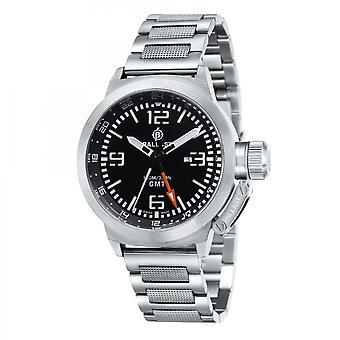 Ballast Silver & Black Trafalgar Swiss Made GMT Watch