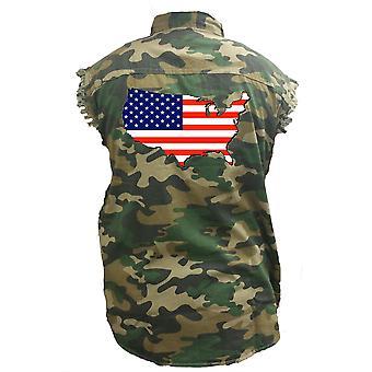 Men's Camo Sleeveless Denim Shirt USA Flag United States Of America