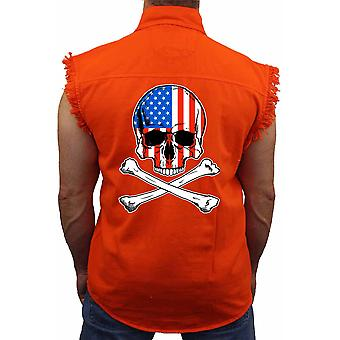 USA bandera Calavera de los hombres con huesos cruzados sin manga mezclilla camisa Biker