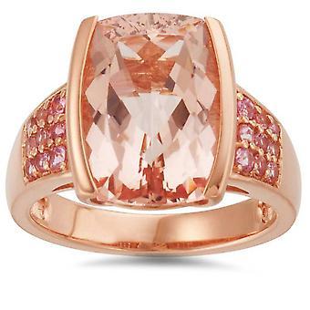 6 3 / 4ct Morganite & Rosa safir Vintage Ring 14K roséguld