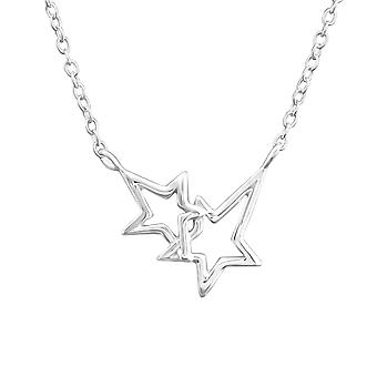 Double Star - 925 Sterling Silver Plain Necklaces - W37241X