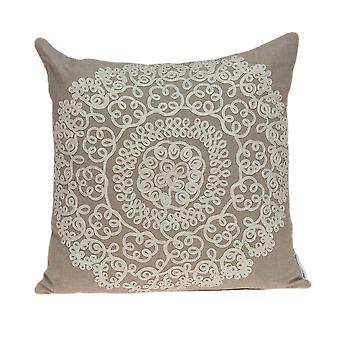"""20"""" x 7"""" x 20"""" Traditional Tan Pillow Cover With Down Insert"""