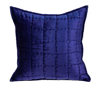 """20"""" x 7"""" x 20"""" Transitional Royal Blue Quilted Pillow Cover With Poly Insert"""