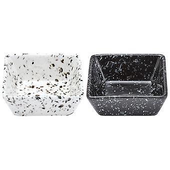 Ladelle Set of 2 Terrazzo Mini Square Bowl, Black and White