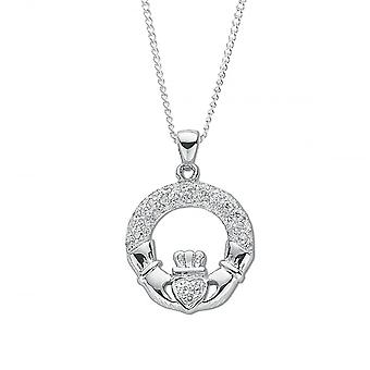 Eternity Sterling Silver pave cubic zirconia sett Claddagh drop anheng og 18 ' ' Chain