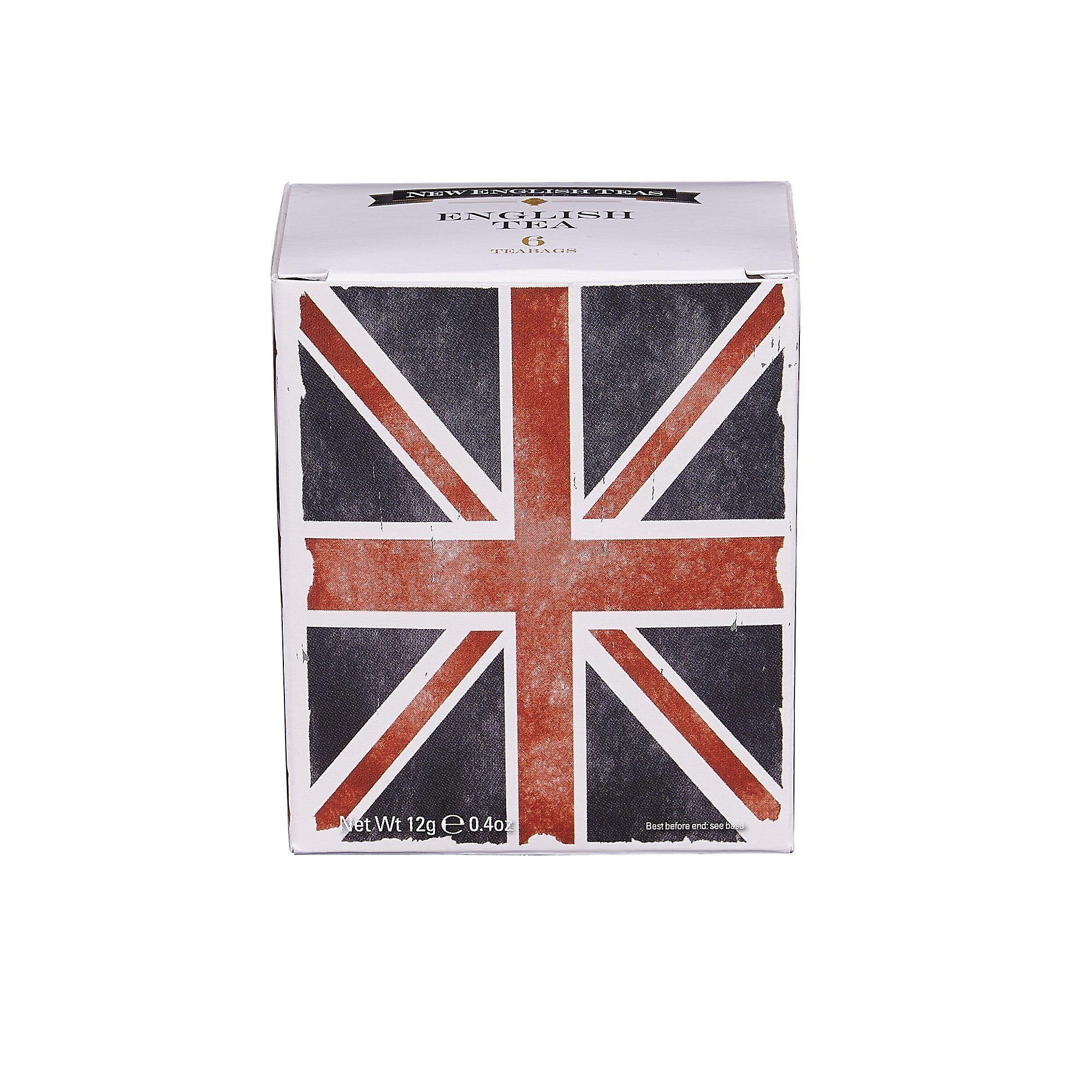 Black and white union jack english tea 6 teabag carton