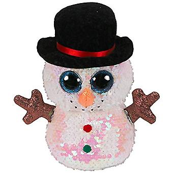 TY Flippable Sequins Melty The Snowman Small Beanie Boo