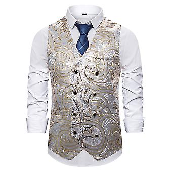 Allthemen Men s Casual Splendido V collo doppiopetto Con semi di sequina tono vest