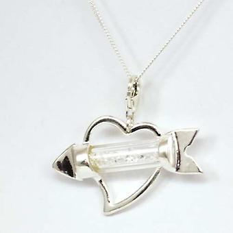 TOC Heart Pendant With Arrow Made With Swarovski Crystals - Sterling Silver