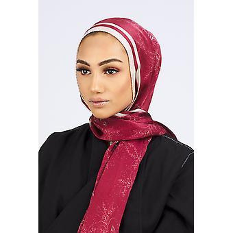 Silk satin scarf in burgundy & beige floral print