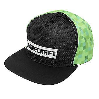 Minecraft Logo Snapback Cap mit Gummi Patch grün, schwarz, Größe verstellbar, Erwachsenengröße.
