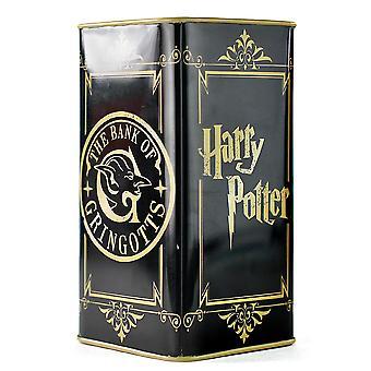 Harry Potter spaarpot gringotts Bench zwart/goud, gedrukt, gemaakt van 100% metaal.