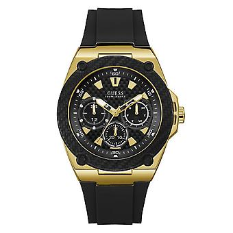 Watch Guess LEGACY W1049G5 - multifunction steel Gold Bracelet black man Silicone case