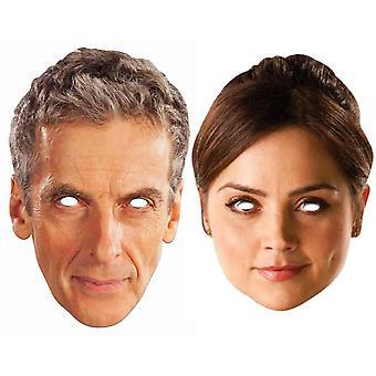 पीटर Capaldi 12 वीं डॉक्टर कौन और क्लारा ओसवाल्ड कार्ड पार्टी फैंसी ड्रेस मास्क (2 पैक)