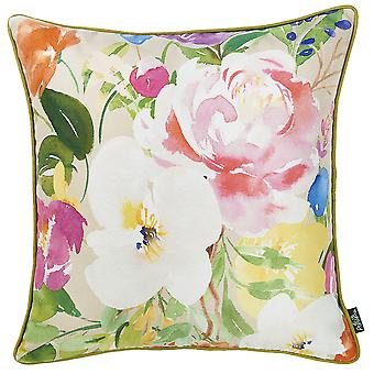 """18""""x 18"""" Watercolor Bouquet Printed Decorative Throw Pillow Cover"""
