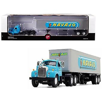 Mack B-61 Day Cab With 40' Vintage Trailer Navajo Turquoise And Silver 1/64 Diecast Model By First Gear