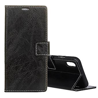 For iPhone XS MAX Case,Retro Wild Horse Texture Leather Wallet Phone Cover,Black