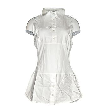 Kathleen Kirkwood Womens Top Dictrac-Ease Chambray Shirttail White A311148 #5