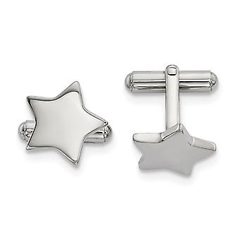 16.87mm Stainless Steel Polished Star Cuff Links Jewelry Gifts for Men