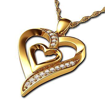 Dephini χρυσό κολιέ καρδιά 18Κ Κίτρινο χρυσό καρδιά κρεμαστό κόσμημα CZ κρύσταλλα