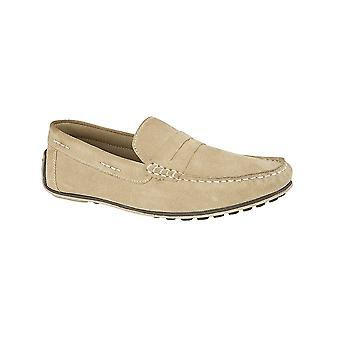 Roamers Stone Suede Apron Saddle Moccasin Driving Shoe Textile Lining & Sock Tpr Sole