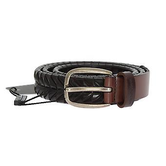 Dolce & Gabbana Brown Flettet Mønster Læder Guld Spænde Bælte