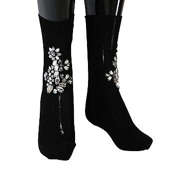 Dolce & Gabbana Black Knitted Floral Clear Crystal Socks