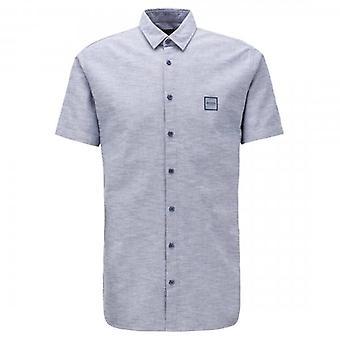 Boss Orange Hugo Boss Magneton_1 Short Sleeve Oxford Shirt Blue 404 50406334