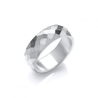 David Deyong Sterling Silver Round Faceted Band