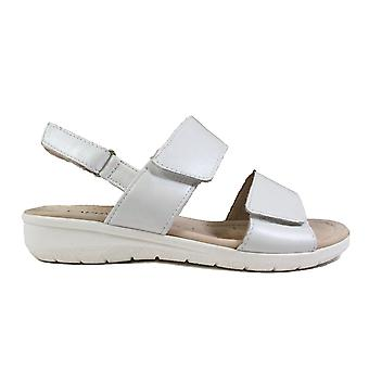 Caprice 28602 White Leather Womens Rip Tape Slingback Sandals