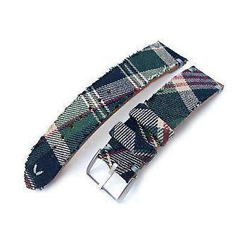 Strapcode fabric watch strap 20mm, 22mm miltat dundee tartan pattern watch strap, grey stitching