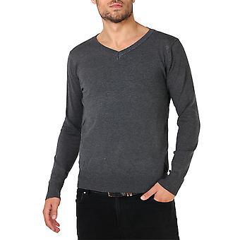 KRISP Herren weiche Baumwolle stricken Schlichte V Neck Fashion Pullover Strickpullover Pullover Arbeit