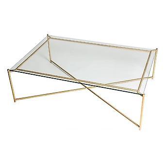 Gillmore kirkas lasi suorakulmainen sohvapöytä messinki cross base