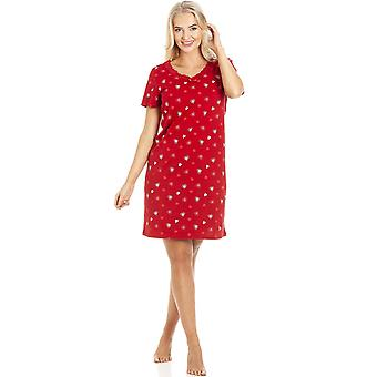 Camille Red Heart Print Cotton Nightdress