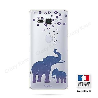 Hull For Sony Xperia Xz2 Compact Soft Blue Elephant Pattern