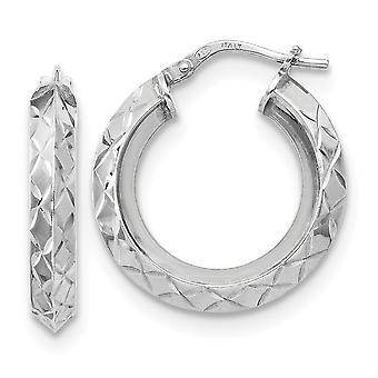 925 plata de ley pulido y sparkle corte aro pendientes joyería regalos para las mujeres - 2.8 gramos