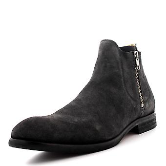 Mens H By Hudson Mitchell Suede Charcoal Smart Office Work Ankle Boots